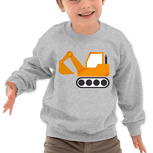 Price comparison product image Puppylol Orange Excavator Construction Vehicles Kids Classic Crew-neck Pullover Hoodie Ash 2 Toddler