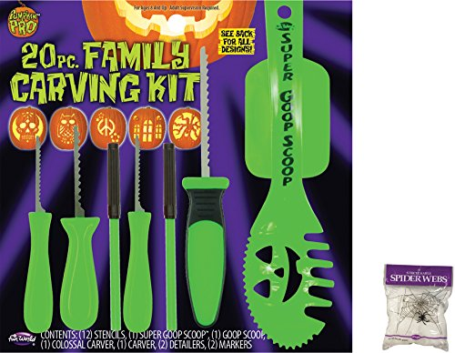 Potomac Banks Bundle: 2 Items - 20 Piece Family Carving Kit and Free Spider Web (Comes with Free How to Live Stress Free Ebook)