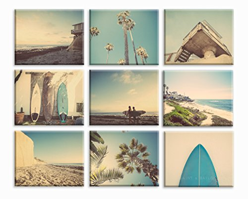 Surf Beach Themed Fine Art Photography Set of 9 on Stretched Canvas, beach photos, , yellow, turquoise, sunset, retro, vintage surf home decor, beach wall art by Saint and Sailor Studios