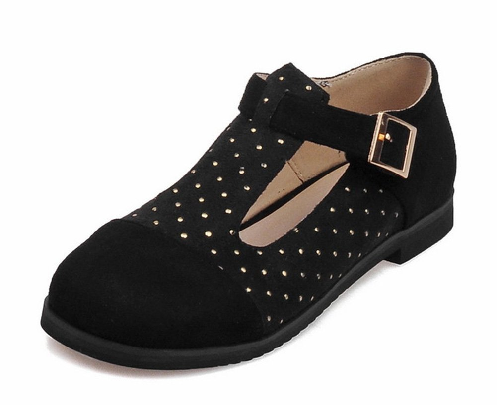Aisun Women's Cute Preppy Style Studded Round Toe T Strap Mary-Jane Flats Shoes with Buckles Black 13 B(M) US