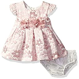 Bonnie Baby Baby Short Sleeved Brocade Dress , Pink, 18 Months