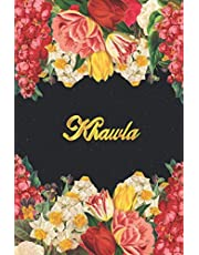 Khawla: Lined Notebook / Journal with Personalized Name, & Monogram initial K on the Back Cover, Floral cover, Gift for Girls & Women
