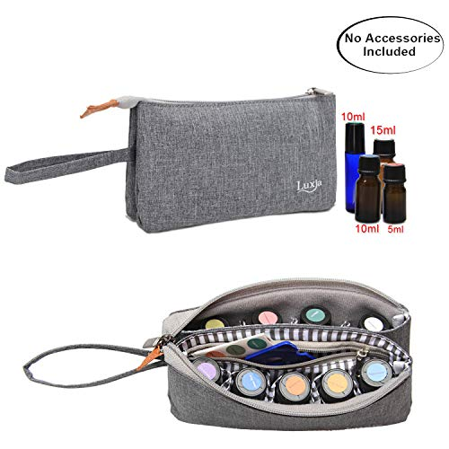 Luxja Essential Oil Carrying Bag - Holds 9 Bottles (5ml-15ml, Also Fits for Roller Bottles), Portable Organizer for Essential Oil and Small Accessories, Gray