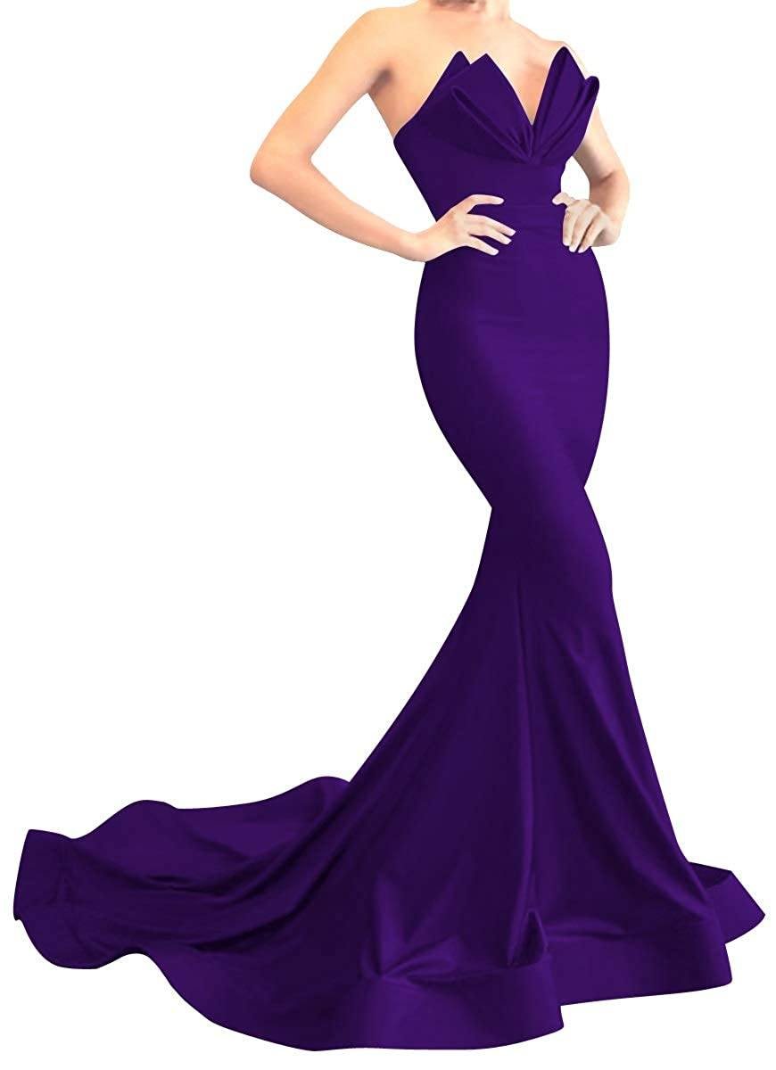 Purple MorySong Women's Strapless Mermaid Evening Prom Dress Satin Long Formal Gown