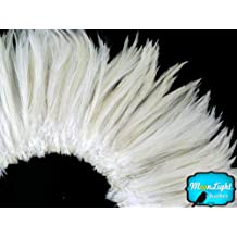 Rooster Feathers, Natural White Strung Rooster Neck Hackle Feathers - 4 Inch Strip