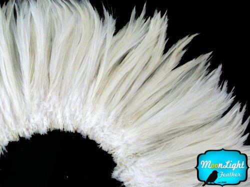 Project M All Special Costumes (Rooster Feathers, Natural White Strung Rooster Neck Hackle Feathers - 4 Inch Strip)