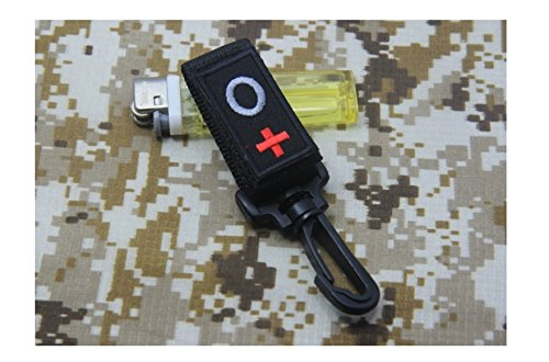 Blood Type O+ ARMY POLICE SECURITY GUARD BLACK NYLON DUTY BELT KEEPERS TACTICAL KEYCHAIN KEY RING TRIGGER (Type Key Keeper)