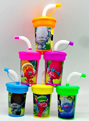 6 Trolls Stickers Birthday Sipper Cups with lids Party Favor Cups