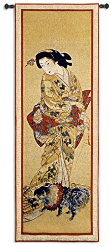 Lady With A Dog - Woven Tapestry Wall Art Hanging For Home Living Room & Office Decor - Japanese Geisha Chin Dog Asian Culture Kimonos With Traditional Ancient Scroll Artwork - 100% Cotton - USA 51X18