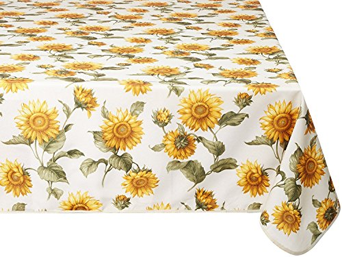 Violet Linen Euro Snflwr TC Sunflowers Design Tablecloth, 60