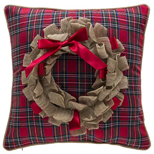 14 Karat Home Holiday Wreath Decorative Throw Pillow | Reversible Plaid Accent Pillow (17x17 inches, Tan/Red / Green) ()