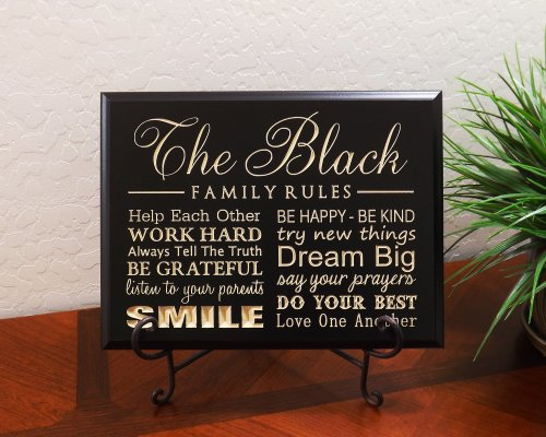 Personalized Sign with Last Name FAMILY RULES, Help Each Other, WORK HARD, Always Tell The Truth, BE GRATEFUL, listen to your parents, SMILE, BE HAPPY... Decorative Carved Wood Sign Quote, Black