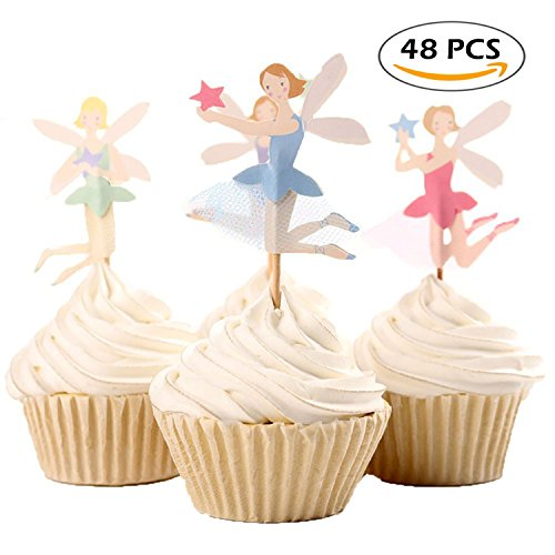 A Little Lemon 48Pcs Fairy Girls Dancers Fun Cupcake Decorative Toppers Cupcake Decorating Tools for Birthday (Diy Festa Halloween)