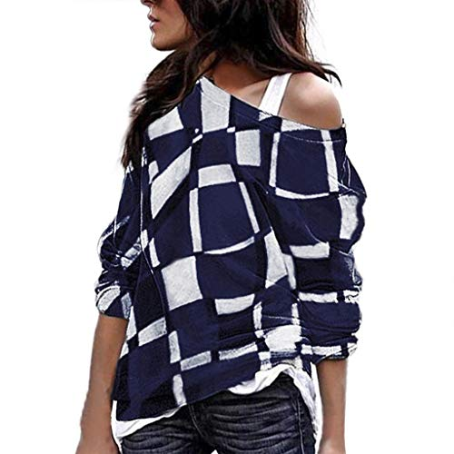 COPPEN Women Sweatshirt Shirt O Neck Long Sleeve Striped Blouse Pullover Casual Tops Navy
