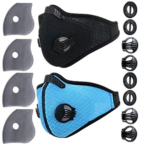 Ligart Dust Mask with Activated Carbon Mask Filter Dustproof Mask Mesh Cover Mask Filtration Exhaust Gas Anti Pollen Allergy PM2.5 Air Filter Mask for Running Cycling and Other Outdoor Activities