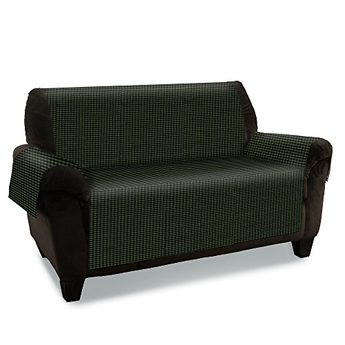 GPD Quilted Plaid Furniture Protector Slipcover (Sofa, Green)