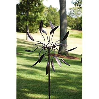 Superieur Evergreen Garden Twirler Powder Coated Metal Kinetic Wind Spinner   24u201dW X 6
