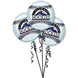 "Amscan Exciting Colorado Rockies Balloons Party Decoration (3 Pack), 18"", Silver"