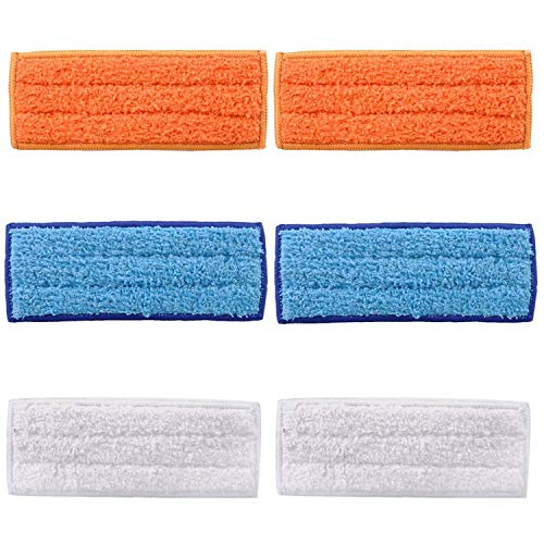 6 Pack Washable Reusable Mopping Pads for iRobot Braava Jet 240 241 (2 Wet Pads, 2 Dry Pads, 2 Damp Pads)