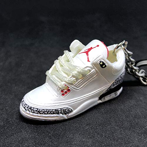 new styles 10708 51ff1 Air jordan III 3 Retro White Cement 88 OG Sneakers Shoes 3D Keychain