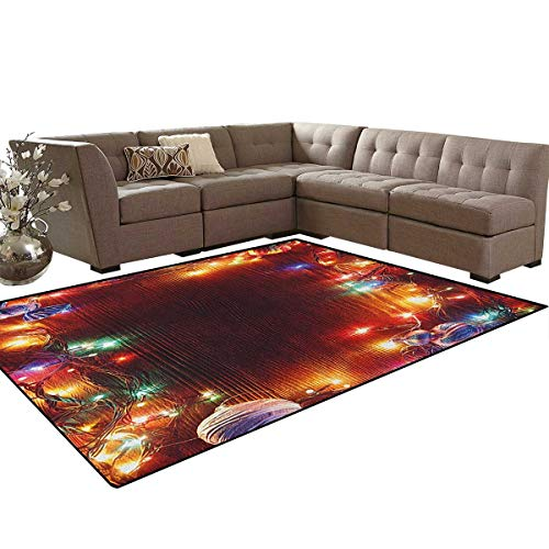 Christmas,Carpet,Grunge Hipster Tinsel Winter Themed Ornament Frame on Wooden Seem Design Print,Rugs for Living Room,Multicolor Size:6'x9'