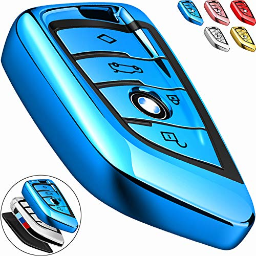 COMPONALL for BMW Key fob Cover, Key Fob Case for BMW 2 5 6 7 Series X1 X2 X3 X5 X6 Premium Soft TPU Anti-dust Full Protection, Blue