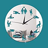 ZRDMN Wall clock Decorative wall clock fun sex clock art bar cafe quartz, silver Wall clock