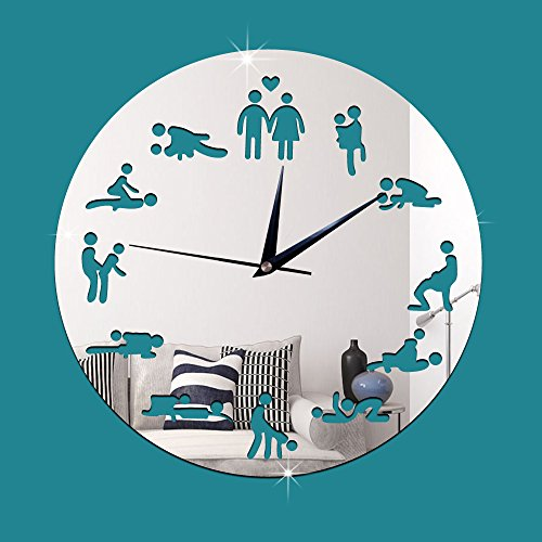ZRDMN Wall clock Decorative wall clock fun sex clock art bar cafe quartz, silver Wall clock by ZRDMN