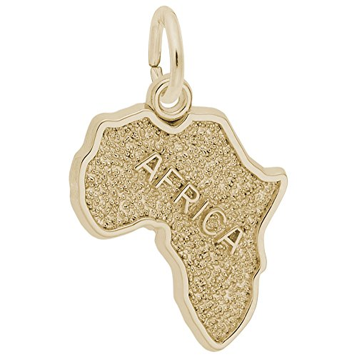 10k Yellow Gold Africa Charm, Charms for Bracelets and Necklaces by Rembrandt Charms