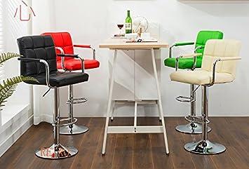 cheaper 1dd0c 06011 2 x Leather Kitchen Breakfast Bar Stool Barstools (Green)