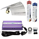 Hydroplanet™ Horticulture 400w Hydroponic 400w Watt Grow Light Digital Dimmable Ballast HPS Mh System Kit for Plants Gull Wing Reflector Hood Set (400w)