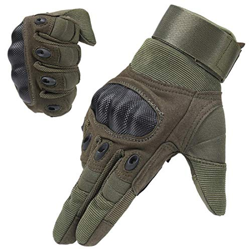 ADiPROD Tactical Gloves (1 Pair) Hard Knuckle Full Finger for Outdoor Shooting Army Airsoft Gear (Army Green, Small)