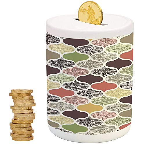 Modern Decor,Ceramic Girls Bank,Printed Ceramic Coin Bank Money Box for Cash Saving,Seamless Oriental Geometric Morrocan Doodle Pattern with Dots and Blank Colors - Piggy Bank Blanks Color