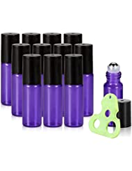 Olilia Glass Roll on Bottles with Metal Roller Balls - Essential Oils Key included 12 Pack of 5ml (Lyons Blue)