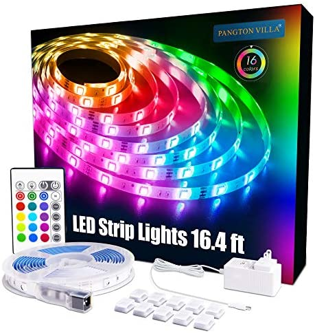 PANGTON VILLA Led Strip Lights 16.4 feet RGB 5050 Color Kit with 24 Key Remote Control and Power Supply Mood Lamp for Room Bedroom Home Kitchen Indoor Decorations