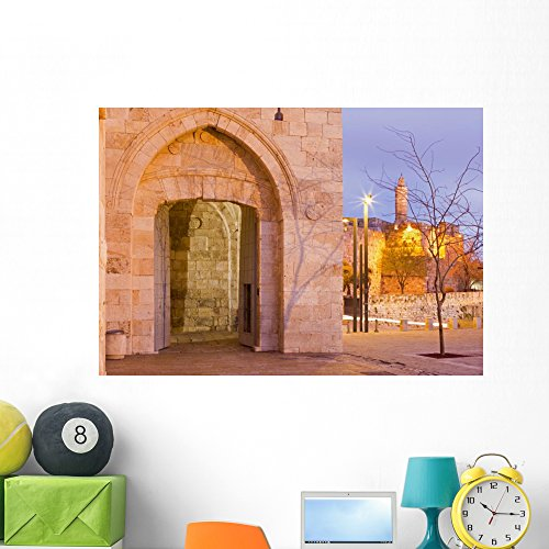 Wallmonkeys FOT-81579391-48 WM362797 Jerusalem-The Tower of David and Jaffa Gate Peel and Stick Wall Decals (48 in W x 34 in H), Extra Large