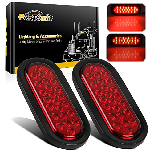Partsam 2 Pcs 6 Inch Red Oval Led Trailer Tail Lights 24 LED Grommet Mount, Oval 6