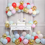 PartyWoo Pastel Balloons, 80 pcs 12 inch Pastel Color Balloons, Gold Confetti Balloons, Pastel Balloons Pack for Pastel Party Decorations, Pastel Rainbow Party Supplies, Pastel Birthday Decorations