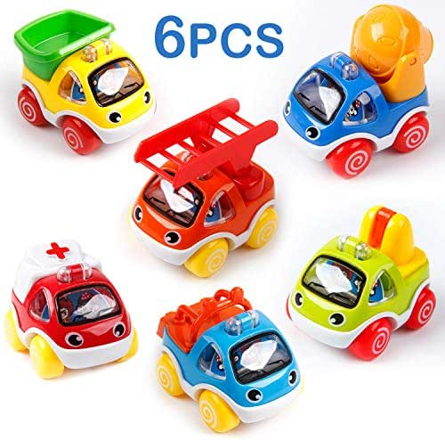 Mini Tudou Toy Cars for Toddlers Pull Back Cars Toys for 1 2 3 Year Old Baby Construction Vehicles Play for Girls Boys Kids Gift