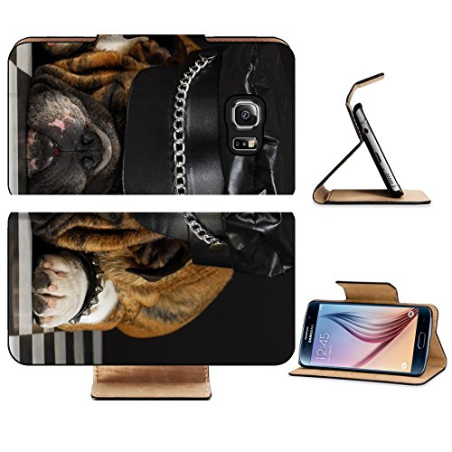 Luxlady Premium Samsung Galaxy S6 Edge Flip Pu Leather Wallet Case IMAGE ID 7776783 english bulldog wearing black leather dressed up like motorcycle gang