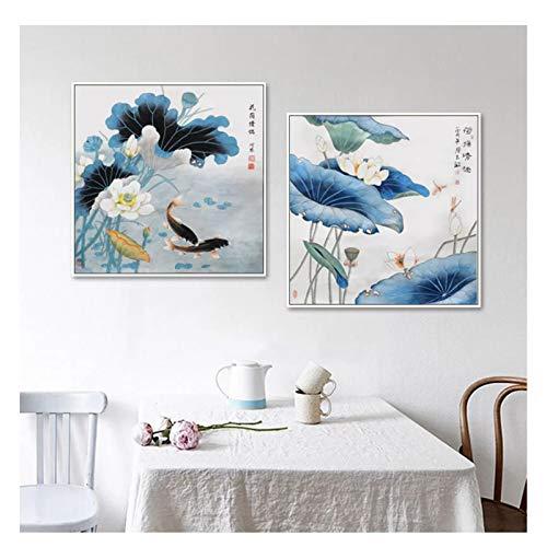 feitao Imprimir Poema Koi Pintura China Verano Lotus Arte Pared Cuadros clasico Estilo asiatico Pinturas decoracion del hogar -20X20 Pulgadas sin Marco 2 Piezas