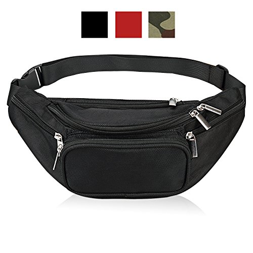 Fanny Pack 5-Zipper Pockets Waist Bag Belt Nylon Multifunctional For Women Men Water Proof Waist Bag pack for Hiking Running Cycling Camping Climbing Travel (Black)