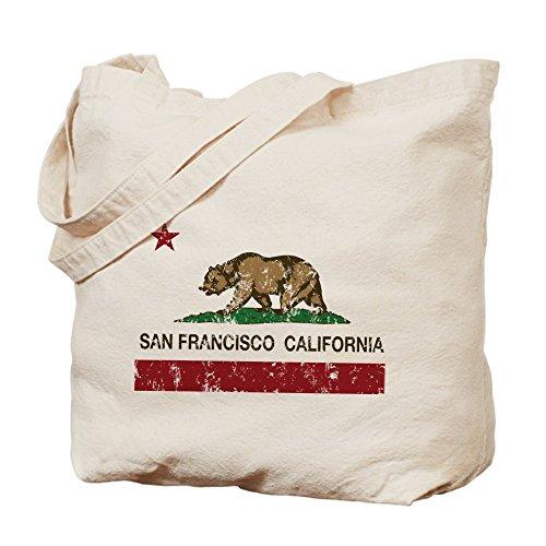 CafePress - california flag san francisco distressed Tote Bag - Natural Canvas Tote Bag, Cloth Shopping Bag