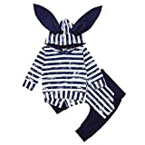 Newborn Autumn Cute Rabbit Ear Hooded Sets,Jchen(TM) Infant Baby Boys Girls Long Sleeve Animal Print Tops+ Pants Striped Outfits Clothes for 0-24 Months (Age: 6-12 Months, Navy)