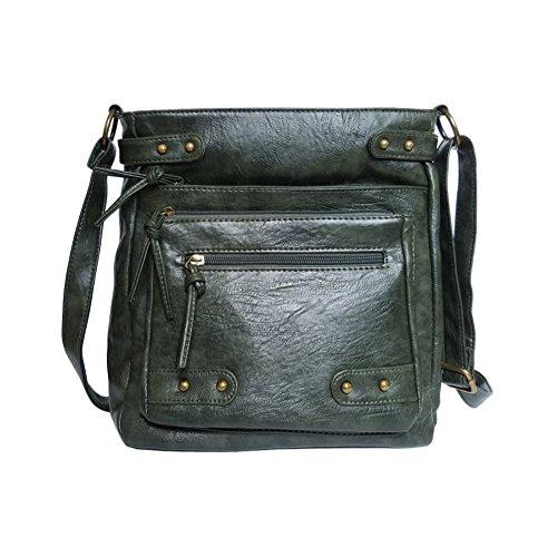 FanCarry Washed Soft PU Leather Crossbody Purse Multi Pocket Shoulder Satchel Bags for Women (Dark Green) (Satchel Large Leather Soft)