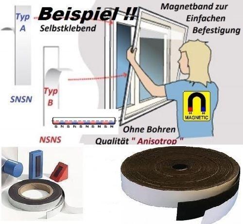NASTRO MAGNETICO AUTOADESIVO TIPO + TIPO B - 1, 5mm x 25, 4mm x 2 metri - Qualità  anisotropo  massima RESISTENTE - Pellicola magnetica Smagtron