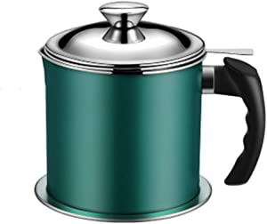 Bacon Grease Container,304 Stainless Steel Oil Storage Grease Keeper,Grease Strainer and Container with Removable Dustproof Lid and Coaster (Green)