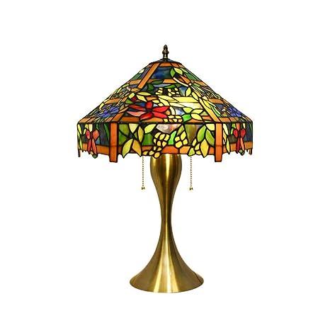 Lámpara de mesa Tiffany estilo vidrieras, europeo retro cálido ...
