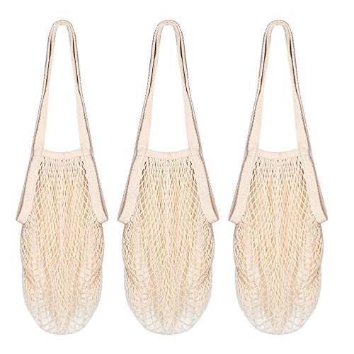 DimiDay Cotton Net Shopping Tote Ecology Market String Bag Organizer-for Grocery Shopping & Beach, Storage, Fruit, Vegetable and Toys 3-Pack(Long Handle New - Market New Shopping