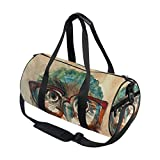 Use4 Owl in Hipster Glasses Travel Duffel Bag Sport Gym Luggage Bag for Men Women